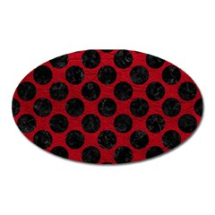 Circles2 Black Marble & Red Leather Oval Magnet by trendistuff