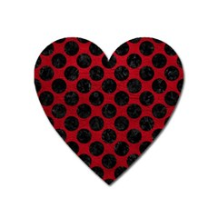 Circles2 Black Marble & Red Leather Heart Magnet by trendistuff
