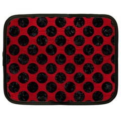 Circles2 Black Marble & Red Leather Netbook Case (xl)  by trendistuff