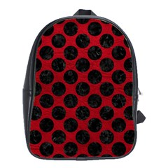 Circles2 Black Marble & Red Leather School Bag (large) by trendistuff