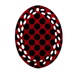 Circles2 Black Marble & Red Leather Ornament (oval Filigree) by trendistuff