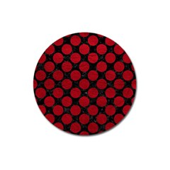 Circles2 Black Marble & Red Leather (r) Magnet 3  (round)