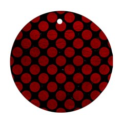 Circles2 Black Marble & Red Leather (r) Round Ornament (two Sides) by trendistuff