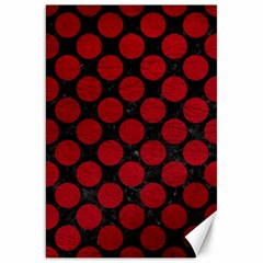 Circles2 Black Marble & Red Leather (r) Canvas 20  X 30   by trendistuff