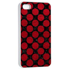 Circles2 Black Marble & Red Leather (r) Apple Iphone 4/4s Seamless Case (white) by trendistuff