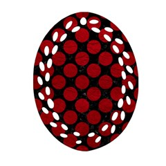 Circles2 Black Marble & Red Leather (r) Ornament (oval Filigree) by trendistuff