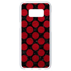 Circles2 Black Marble & Red Leather (r) Samsung Galaxy S8 White Seamless Case