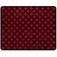 Circles3 Black Marble & Red Leather Double Sided Fleece Blanket (medium)  by trendistuff