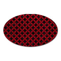 Circles3 Black Marble & Red Leather (r) Oval Magnet by trendistuff