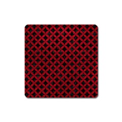 Circles3 Black Marble & Red Leather (r) Square Magnet by trendistuff