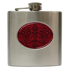 Damask2 Black Marble & Red Leather Hip Flask (6 Oz) by trendistuff