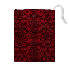 Damask2 Black Marble & Red Leather Drawstring Pouches (extra Large)
