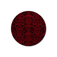 Damask2 Black Marble & Red Leather (r) Rubber Coaster (round)  by trendistuff