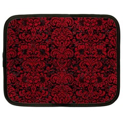 Damask2 Black Marble & Red Leather (r) Netbook Case (xxl)  by trendistuff