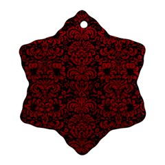 Damask2 Black Marble & Red Leather (r) Snowflake Ornament (two Sides) by trendistuff