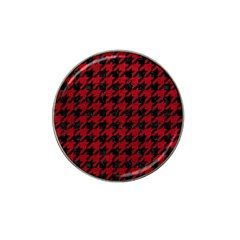 Houndstooth1 Black Marble & Red Leather Hat Clip Ball Marker (10 Pack) by trendistuff