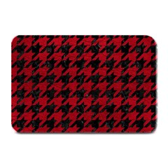 Houndstooth1 Black Marble & Red Leather Plate Mats by trendistuff