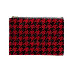 Houndstooth1 Black Marble & Red Leather Cosmetic Bag (large)  by trendistuff