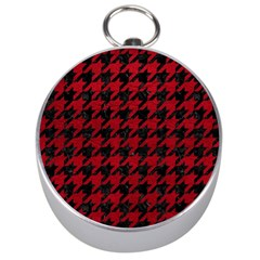 Houndstooth1 Black Marble & Red Leather Silver Compasses by trendistuff
