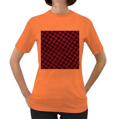 Houndstooth2 Black Marble & Red Leather Women s Dark T Shirt by trendistuff