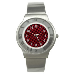 Houndstooth2 Black Marble & Red Leather Stainless Steel Watch by trendistuff