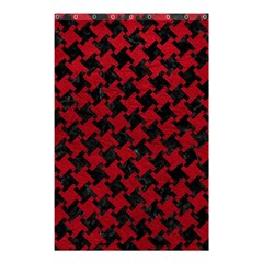 Houndstooth2 Black Marble & Red Leather Shower Curtain 48  X 72  (small)  by trendistuff