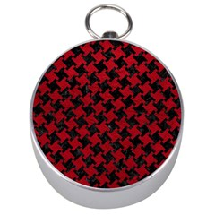 Houndstooth2 Black Marble & Red Leather Silver Compasses by trendistuff