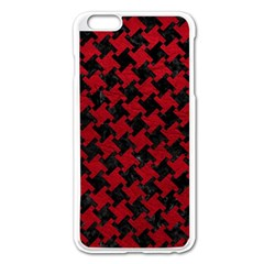Houndstooth2 Black Marble & Red Leather Apple Iphone 6 Plus/6s Plus Enamel White Case by trendistuff