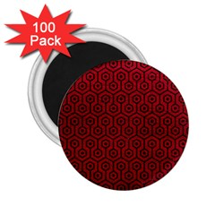 Hexagon1 Black Marble & Red Leather 2 25  Magnets (100 Pack)  by trendistuff