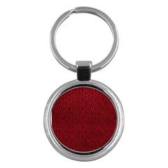 Hexagon1 Black Marble & Red Leather Key Chains (round)  by trendistuff