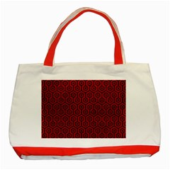 Hexagon1 Black Marble & Red Leather Classic Tote Bag (red)