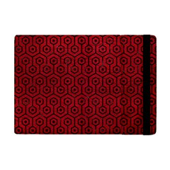 Hexagon1 Black Marble & Red Leather Apple Ipad Mini Flip Case by trendistuff