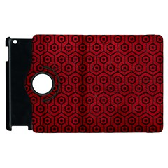 Hexagon1 Black Marble & Red Leather Apple Ipad 2 Flip 360 Case by trendistuff