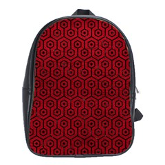 Hexagon1 Black Marble & Red Leather School Bag (xl) by trendistuff