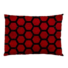 Hexagon2 Black Marble & Red Leather Pillow Case by trendistuff