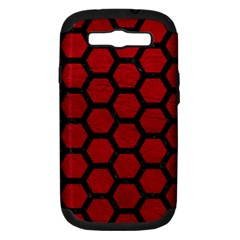 Hexagon2 Black Marble & Red Leather Samsung Galaxy S Iii Hardshell Case (pc+silicone) by trendistuff