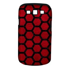 Hexagon2 Black Marble & Red Leather Samsung Galaxy S Iii Classic Hardshell Case (pc+silicone) by trendistuff