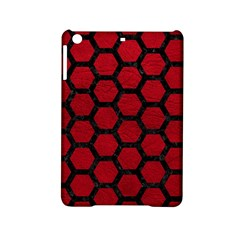 Hexagon2 Black Marble & Red Leather Ipad Mini 2 Hardshell Cases by trendistuff