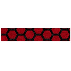 Hexagon2 Black Marble & Red Leather Flano Scarf (large) by trendistuff