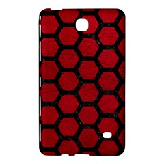 Hexagon2 Black Marble & Red Leather Samsung Galaxy Tab 4 (8 ) Hardshell Case  by trendistuff