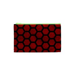 Hexagon2 Black Marble & Red Leather Cosmetic Bag (xs) by trendistuff