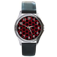 Hexagon2 Black Marble & Red Leather (r) Round Metal Watch by trendistuff