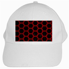 Hexagon2 Black Marble & Red Leather (r) White Cap by trendistuff