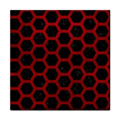 Hexagon2 Black Marble & Red Leather (r) Tile Coasters by trendistuff