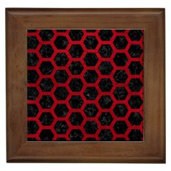 Hexagon2 Black Marble & Red Leather (r) Framed Tiles by trendistuff