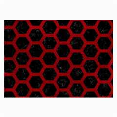 Hexagon2 Black Marble & Red Leather (r) Large Glasses Cloth by trendistuff
