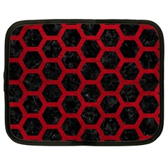 Hexagon2 Black Marble & Red Leather (r) Netbook Case (large) by trendistuff