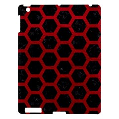 Hexagon2 Black Marble & Red Leather (r) Apple Ipad 3/4 Hardshell Case by trendistuff
