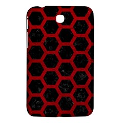 Hexagon2 Black Marble & Red Leather (r) Samsung Galaxy Tab 3 (7 ) P3200 Hardshell Case  by trendistuff