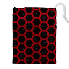 Hexagon2 Black Marble & Red Leather (r) Drawstring Pouches (xxl) by trendistuff